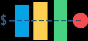 Illustration representing affordability with vertical bars decreasing toward a dollar sign