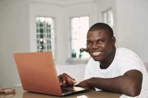 High School student taking an online course at home