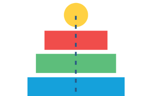 Illustration representing reach with two bars, a circle, two bars, and a dotted line running through