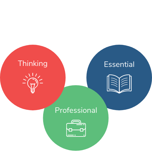 The three parts of the TEL Mastery Standards: thinking, essential, and professional