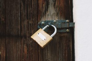 Padlock on a locked door