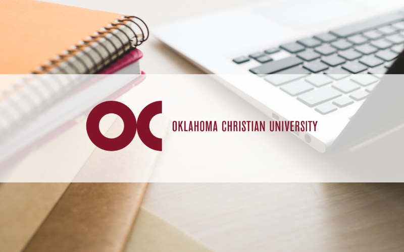 Oklahoma Christian University logo overlaid on a desktop scene