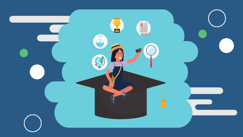 Illustration of a student sitting on a graduation cap